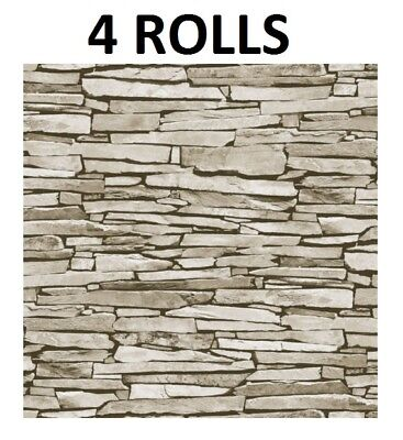 Slate Tile Effect Wallpaper Grey Natural Stone Rustic Feature Wall x 4 Rolls