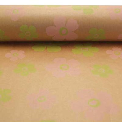 Kraft Wrapping Paper Pink + Lime Flower Pattern 50Cm Wide 1M - 100 Meters