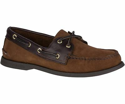 Sperry Top Sider A/O 2 Eye Brown Leather Mens Deck Boat Shoes Size UK 7 - 12