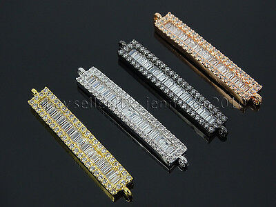 Rectangular Shape Clear Zircon Gemstones Pave Bar Bracelet Connector Charm Beads