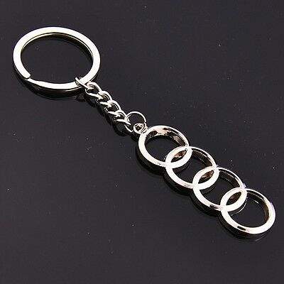 Auto High Quality Car Logo Metal Key Chains Holder Silver Chain Keyring for Audi