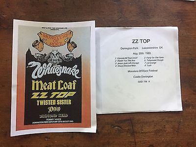 ZZ Top Concert Ad Copy + Free  Cd Castle Donington 1983