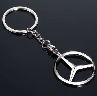 Auto High Quality Car Logo Metal Key Chains Holder Silver Chain Keyring for Benz