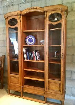 Antique French Art Nouveau Oak Bookcase, from Repurposed Armoire, w/ Glass Doors