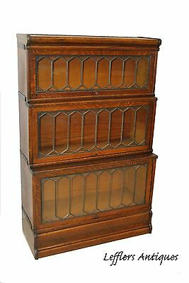 Antique Globe Wernicke Co. Oak Three Section Leaded Glass Stacking Bookcase