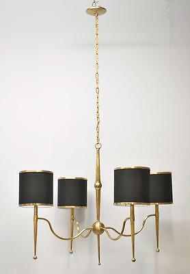 Mid Century Modern Four Light Brass Chandelier Currey & Company