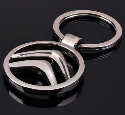 Hollow Out Car Logo Metal Key Chains Pendant Holder Silver Keyring for Citroen