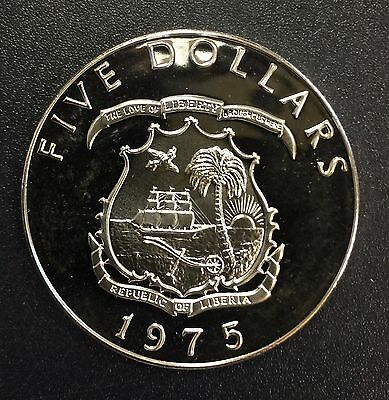 Liberia 1975 $5 Proof Sllver Coin (#1068). Elephant on Reverse. Carefully Check