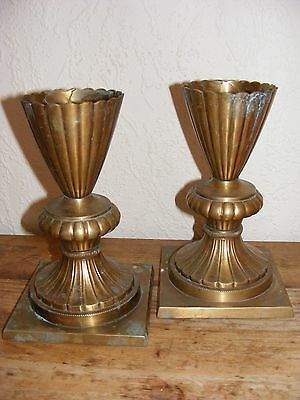 PAIR OF BRASS VASES Need a polish