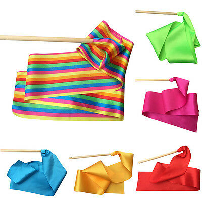 New Dancing Ribbon Children Dance Perform Training Prop Adult Gym Exercise Rod