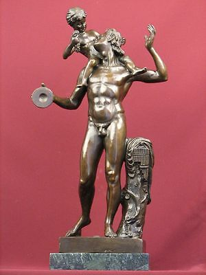 Signed Bronze Sculpture Mythology Nude Art Faun Limited Edition On Marble Base