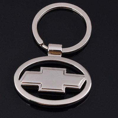 Hollow Out Car Logo Metal Key Chains Pendant Holder Silver Keyring for Chevrolet