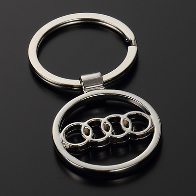 Auto Hollow Out Car Logo Metal Key Chains Pendant Holder Silver Keyring for Audi