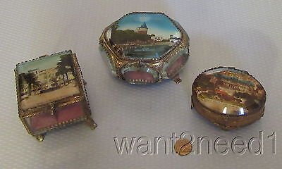 antique French EGLOMISE SOUVENIR BOX COLLECTION 3 trinket jewelry metal glass