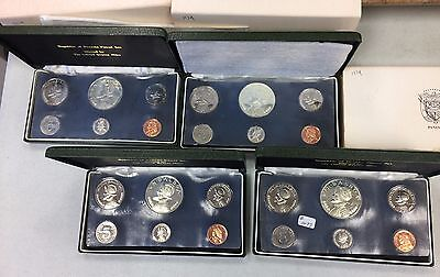 Panama Four 1974 6 Piece Proof Sets (#1077) One Outer Sleeve Missing.