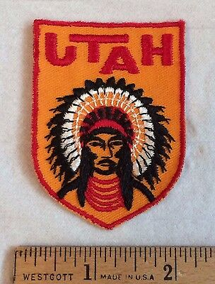 State of UTAH Native American Indian Headdress Souvenir Patch Badge