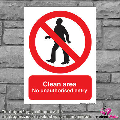 2x Clean Unauthorised - Health & Safety Warning Prohibition Sign Sticker