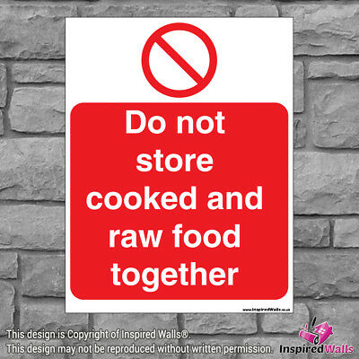 Do Not Store Cooked - Health & Safety Warning Prohibition Sign Sticker