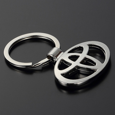 3D Hollow Out Car Logo Metal Key Chain Pendant Holder Silver Keyring for Toyota