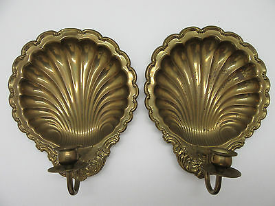"Set of Vintage Brass Clam Shell Wall Sconces Candle Holders Ornate 10.5"" x 9"""