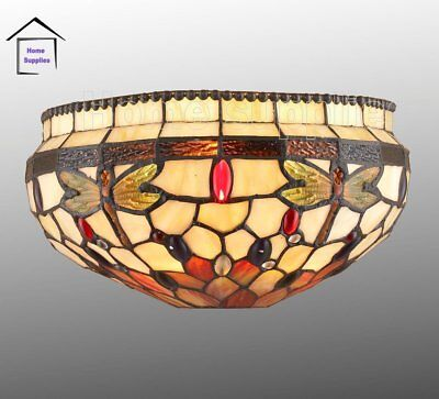 Dragonfly Stained Glass Tiffany Style Wall Light - Contemporary Wall Lights UK