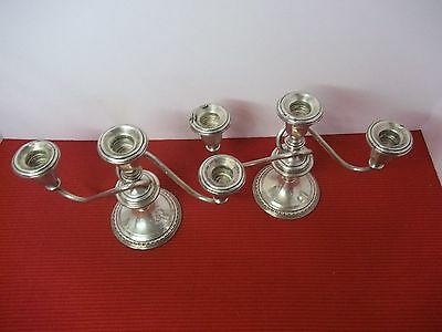 Pair Of International Sterling Silver 3-Lite Candelabra  Weighted Candlesticks