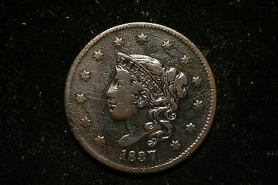 1837 Large Cent Penny, Coronet Head,  US Coin , FINE , Full Liberty!