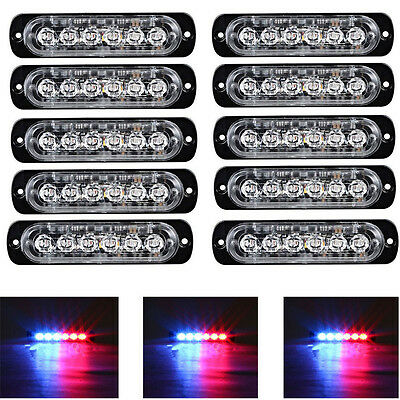 10×6LED Red&Blue 18W Ultra Slim Vehicle Autos Flashing Strobe Lights Waterproof