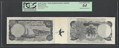 Yemen South Arabia  250 Fils Undated Unlisted Photograph Proof Uncirculated