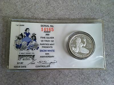 Disney Snow White 50th Anniversary Coin .999 Fine Silver 1/2 Troy Ounce 1987