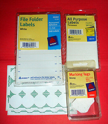 Avery Labels &Tags  Lot of 4, 05202, 11062, 05248, 06113, Partial Packages