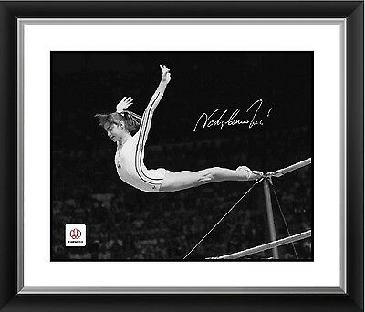 Nadia Comaneci Signed 16x20 in. Photo Framed - Montreal 1976 Perfect Dismount