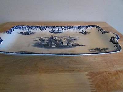 Wedgwood China Antique Hague Sandwich Tray Platter 7x14 Delft Blue White Dutch