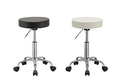 Duhome 410 Adjustable Height Swivel Stool with Wheels (Black or White)