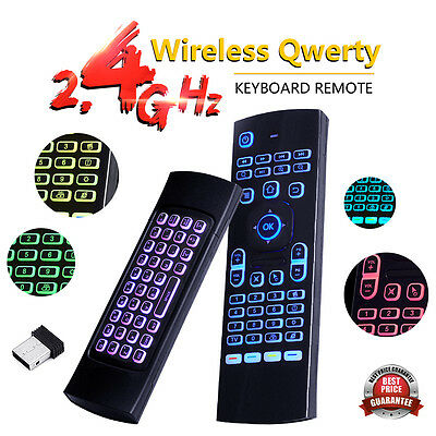 2.4Ghz 7 LED Backlit Fly Air Mouse Wireless Keyboard Remote For TV BOX PC M8S+