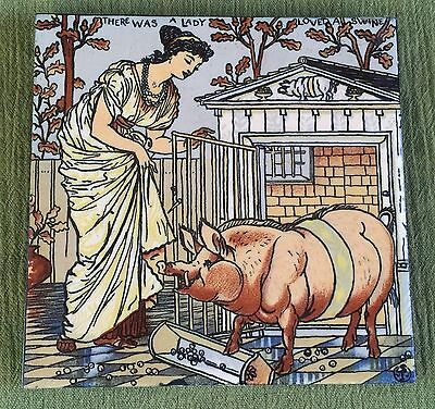 MOSAIC TILE CO. Walter Crane TILE Nursery Rhyme THE LADY WHO LOVED ALL SWINE