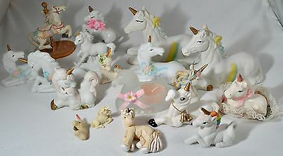 Vintage Porcelain Ceramic Glass Unicorn Lot of 20 Most in Excellent Condition