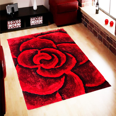 3D Luxury Flowers  Colourful Thick Silky Soft Pile Carved Hand Tufted The Rugs