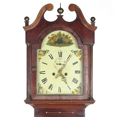 Antique grandfather clock long case tall English 8 day bell strike oak mahogany