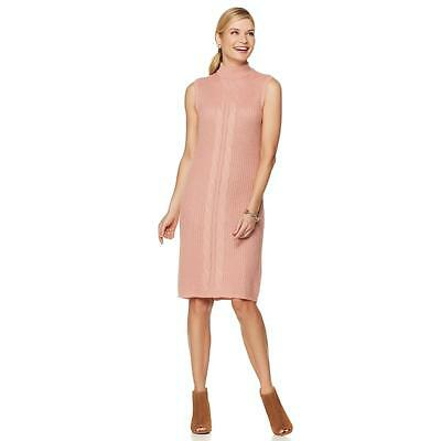 fa09864ff88790 Serena Williams Women s Sleeveless Cable Knit Sweater Dress Rose Small Size  HSN