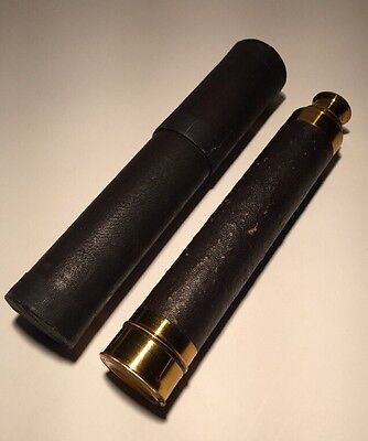 Original Brass & Leather-Covered Nautical Telescope Probably 19th Century