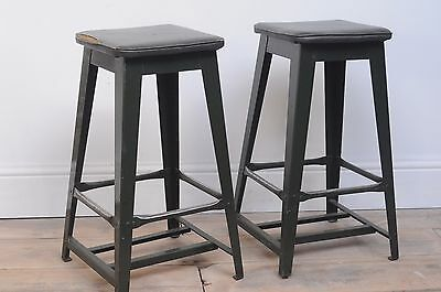 industrial lea bank factory pair of stools Vintage Rare 1940s Army Green