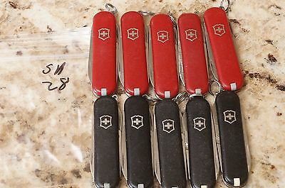 sa28 lot of 5-Red 5-black Victorinox Classic SD Swiss Army knives knife