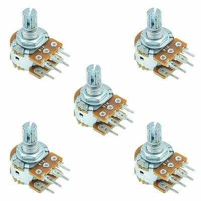 5 x 100k Linear 16mm Stereo Splined Potentiometer Pot