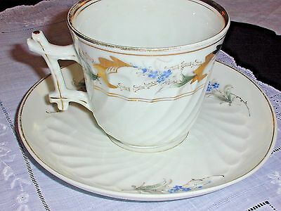 Vintage Large Cup & Saucer~Hand Painted, Blue & Gold