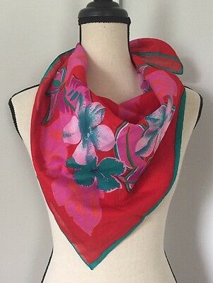 VTG Christian Dior Echarpes Scarf 100% Cotton Hibiscus Tropical Floral
