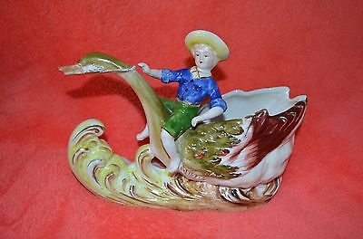 Vintage Fairy Tale  PLANTER Boy Riding White Swan Great Condition