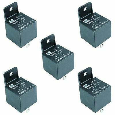 5 x 24V Automotive Changeover Relay 40A 5-Pin Bracket SPDT