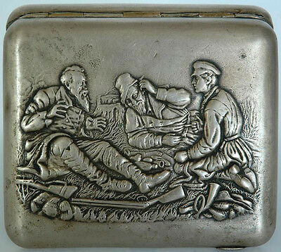 Vasily Perov: Hunters At Rest. Russian Cigarette Case 1890-1915 !
