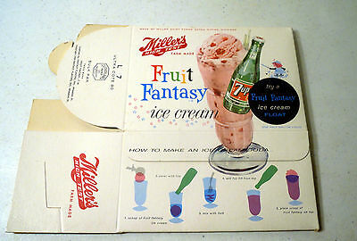 Very Rare 1959 Miller's High Test Ice Cream Container 1/2 Gallon (7-Up)